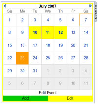Calendar in edit mode