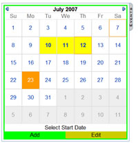 Calendar in insert mode