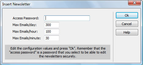 Newsletter System's Insertion Window
